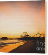 Santa Monica Pier Sunset Southern California Wood Print by Paul Velgos