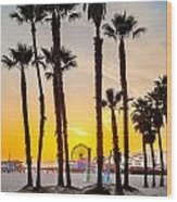 Santa Monica Palms Wood Print