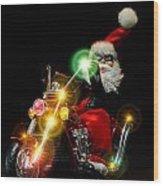 Santa Motoring Wood Print