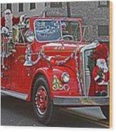 Santa On Fire Truck Wood Print