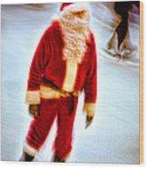 Santa On Ice Wood Print