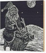 Santa On Reindeer Wood Print