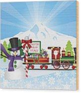Santa On Train With Snow Scene Wood Print
