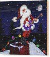 Santa Plays Guitar In A Snowstorm 2 Wood Print