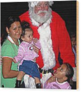Santa Poses With Fans At Annual Christmas Parade Eloy Arizona 2004 Wood Print