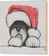 Santa Schnauzer Wood Print