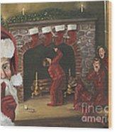 Santa Surprise Wood Print by Kimberly Daniel