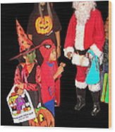 Santa Trick Or Treaters Halloween Party Casa Grande Arizona 2005 Wood Print