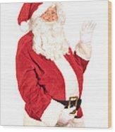 Santa Waving Wood Print