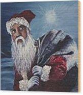 Santa With His Pack Wood Print