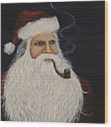 Santa With His Pipe Wood Print