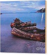 Sant'andrea At Night - Elba Island. Wood Print