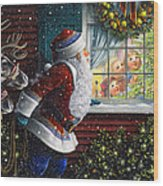 Santa's At The Window Wood Print