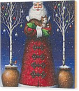 Santa's Cat Wood Print