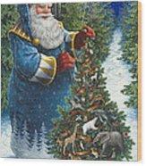 Santa's Christmas Tree Wood Print