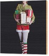 Santa's Helper Merry Christmas Elf Card Wood Print