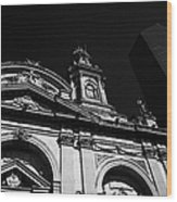 Santiago Metropolitan Cathedral Next To Modern Glass Clad Office Block Chile Wood Print
