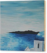 Santorini Blue Dome Wood Print