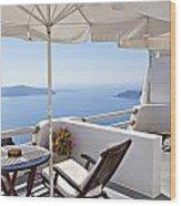 Santorini Balcony  Wood Print
