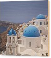 Santorini Blue Domes Wood Print