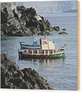 Santorini Boats Wood Print