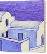 Santorini Houses Wood Print