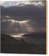 Santorini. Sunlight On Volcano Wood Print