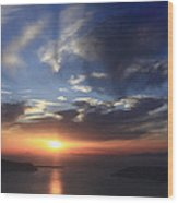 Santorini Sunset Cyclades Greece  Wood Print