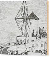 Santorini Windmill Wood Print