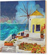 Santorini Windmill Wood Print