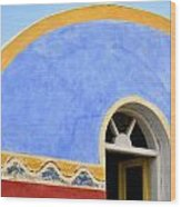 Santorini Window Wood Print