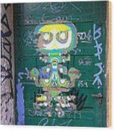 Sao Paulo Green Door II Wood Print