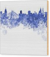Sao Paulo Skyline In Watercolor On White Background Wood Print