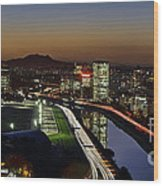 Sao Paulo Skyline At Dusk - Jockey Club - Pinheiros River Towards Pico Do Jaragua Wood Print