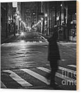 Sao Paulo Street At Night Wood Print