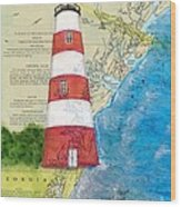 Sapelo Island Lighthouse Ga Nautical Chart Map Art Cathy Peek Wood Print