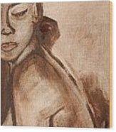 Sapphire In Sepia Wood Print
