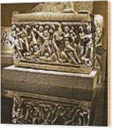 Sarcophoghus Reflected In Antalya Archeological Museum-turkey  Wood Print