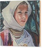 Sardinian Girl Wood Print