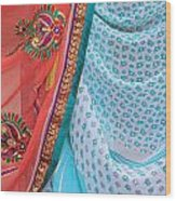 Saree In The Market Wood Print