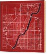 Saskatoon Street Map - Saskatoon Canada Road Map Art On Color Wood Print