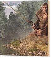 Sasquatch Goes Fishing Wood Print