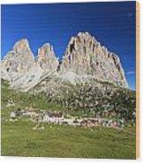 Sassolungo From Sella Pass Wood Print