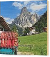 Sassongher Mount From Corvara Wood Print
