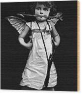 Sassy Cupid Bw Wood Print