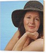 Sassy Lady In Hat Wood Print