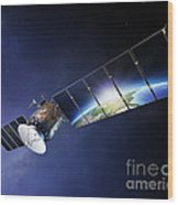 Satellite Communications With Earth Wood Print by Johan Swanepoel