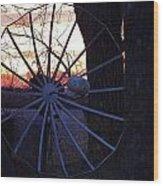 Satellite Sunset Wood Print