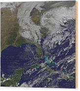 Satellite View Of A Noreaster Storm Wood Print
