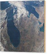 Satellite View Of Great Lakes Wood Print